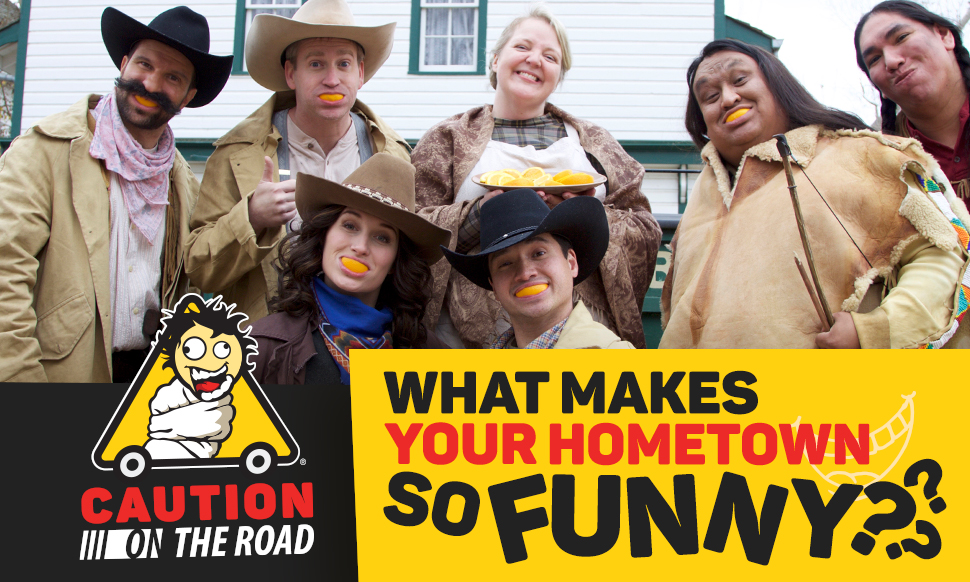 Wild West cast with orange slice smiles -- What Makes Your Hometown So Funny?